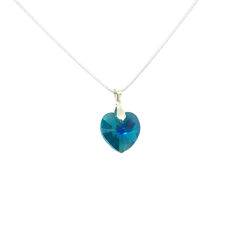 0c6375705 Green Swarovksi Heart Pendant | Sterling Silver by Luxiere